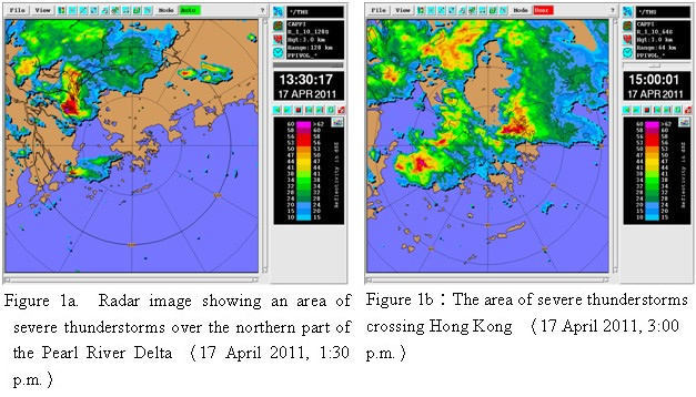 Figure 1a     Radar image showing an area of severe thunderstorms over the northern part of the Pearl River Delta 17 April 2011, 1:30 p.m., Figure 1bThe area of severe thunderstorms crossing Hong Kong 17 April 2011, 3:00 p.m.