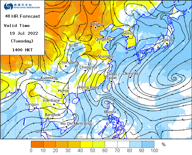 Map of surface streamline and Realative Humidity