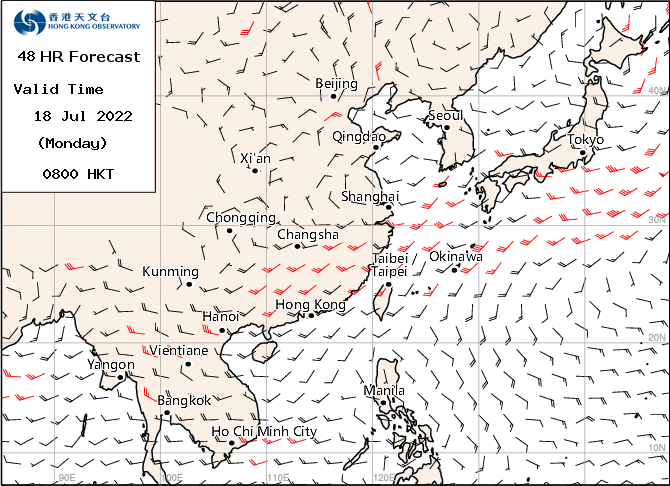 1500 mt  wind - forecast 48 hours