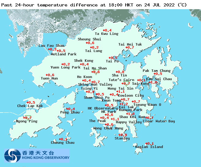 Map of Regional Weather in Hong Kong