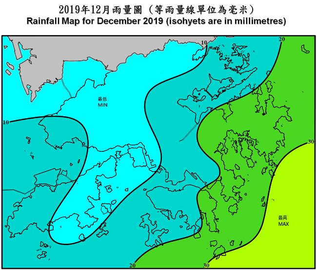 Rainfall Map For December 2019 (isohyets are in millimetres)
