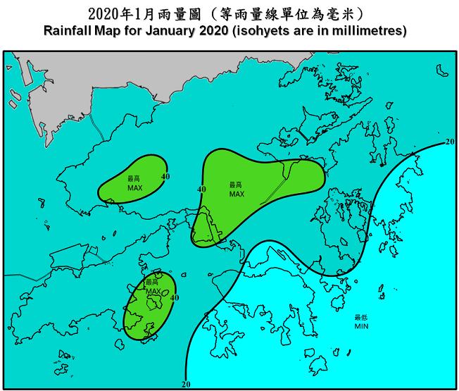 二零二零年一月雨量圖 (等雨量線單位為毫米)