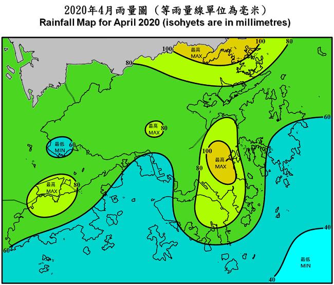 二零二零年四月雨量圖 (等雨量線單位為毫米)