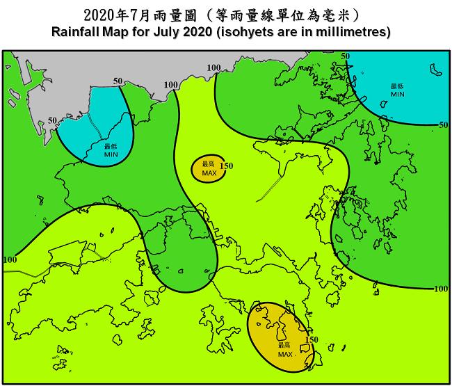 二零二零年七月雨量圖 (等雨量線單位為毫米)