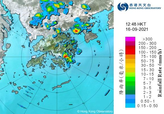2021年9月16日下午12時48分的雷達圖像