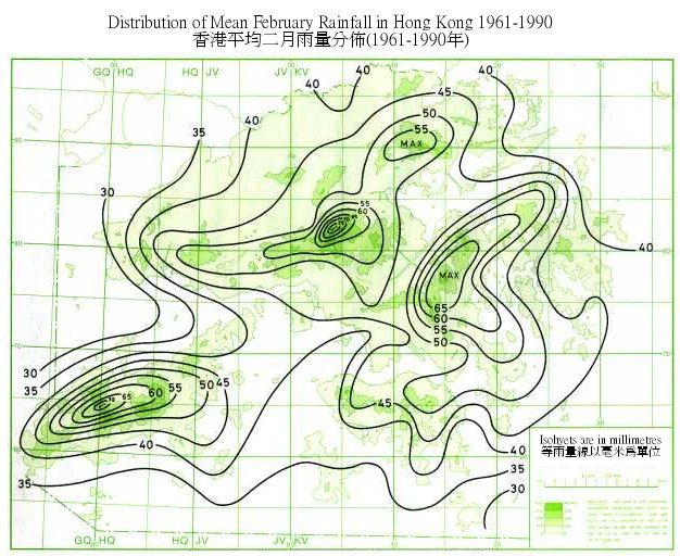 Distribution Map of Mean February Rainfall in Hong Kong (1961-1990)
