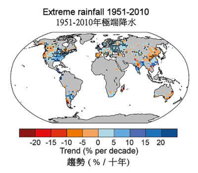 Long-term trend of the percentage of annual precipitation due to extreme precipitation events