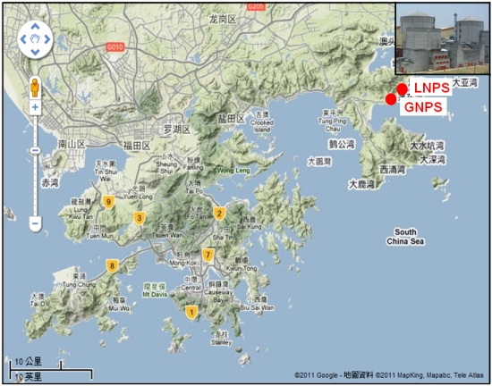 Location of the Guangdong Nuclear Power Station (GNPS) and Lingao Nuclear Power Station (LNPS)