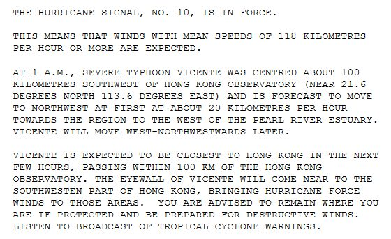 Extract of a Tropical Cyclone Warning bulletin