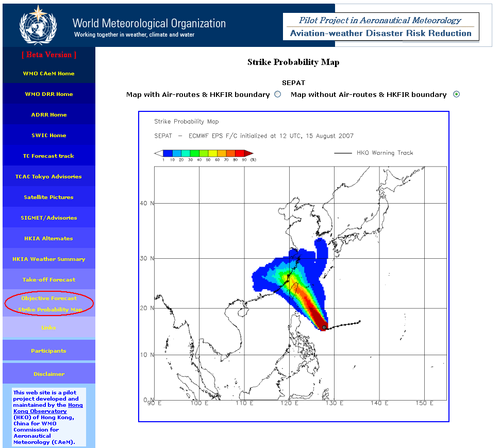 An Aviation-weather Disaster Risk Reduction (ADRR) product developed by HKO