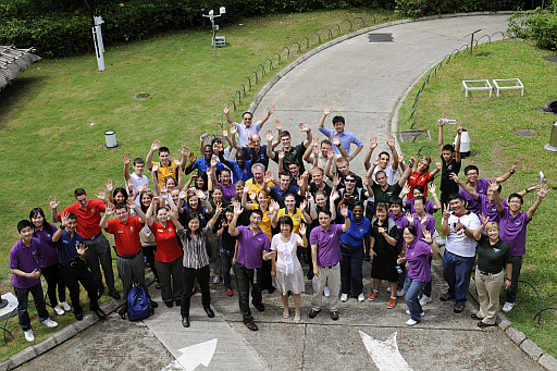 A group photo of the participants of the IACE Programme 2011, members of the Hong Kong Air Cadet Corps and Observatory staff showing the happy moment of the visit