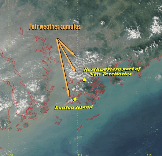 Fair weather cumulus along coast of Guangdong (Image time - 1:14 p.m., 28 October 2004)