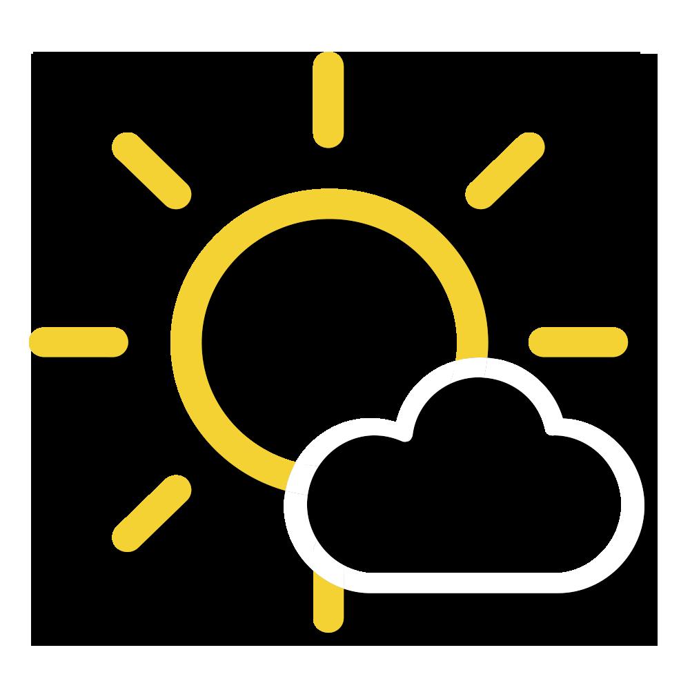 天氣圖示:早晚部分時間多雲,初時有一兩陣微雨,日間大致天晴及乾燥。