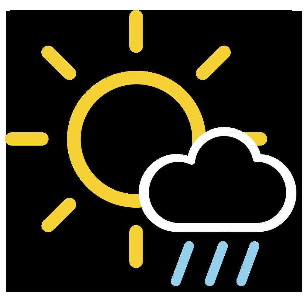 天氣圖示:部分時間有陽光。稍後有幾陣驟雨及雷暴。
