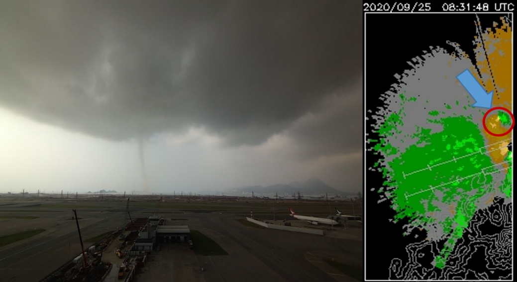 Figure 1: The moment the tornado appeared at Hong Kong Internatinal Airport captured by the camera (left) and LIDAR (right)