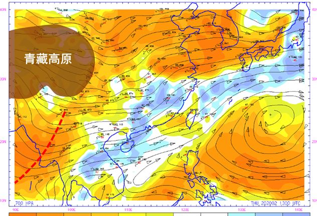 Upper Air 700 hpa chart on 13-02-2020