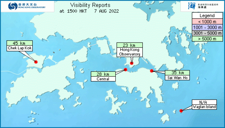 Map with visibility readings in Hong Kong Waters